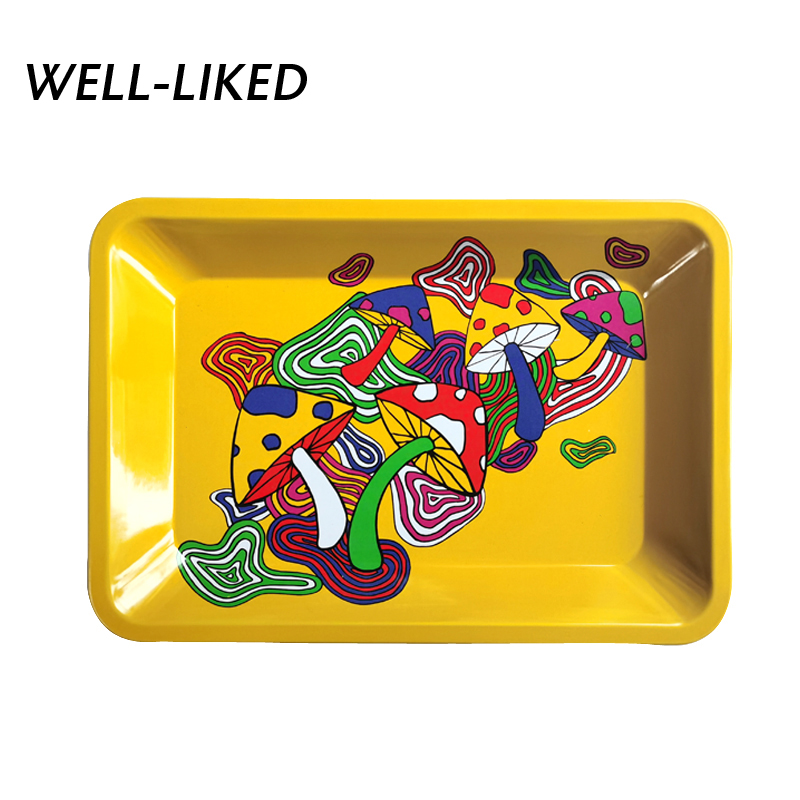 2020 New Arrival Mushroom Smoke Tray Tobacco Metal Rolling Tray Cigarette Container Tobacco Grinder Storage For DIY Smoking Gift