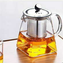 350-750ML Clear Heat Resistant Glass Teapot Jug W/ Infuser Coffee Tea Leaf Herbal Pot Flower Milk Juice Container