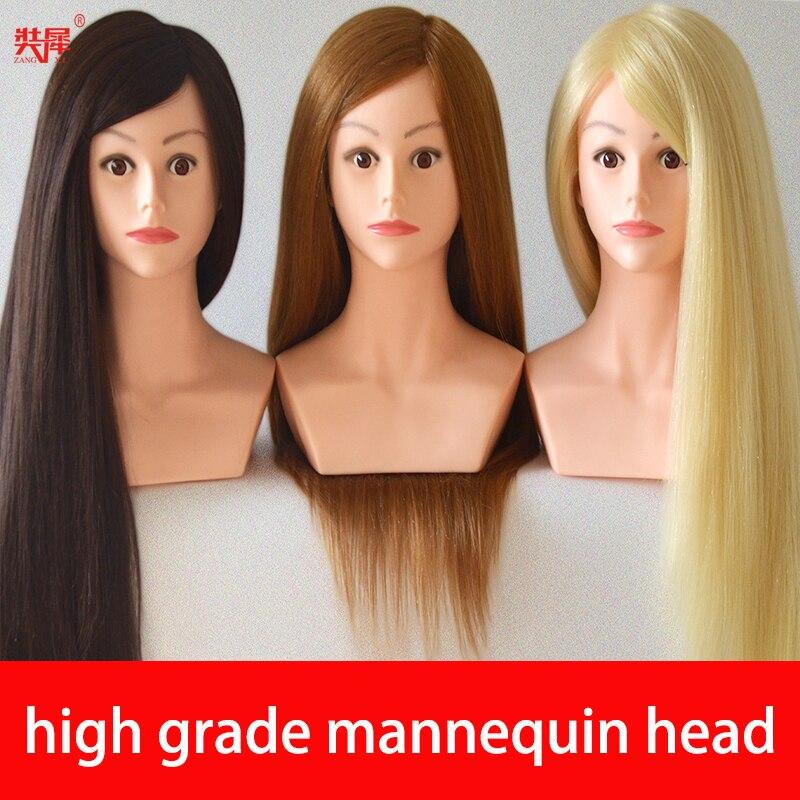 Манекен для парикмахерской с волосами, 24 дюйма, высокое качество, 80% натуральные волосы