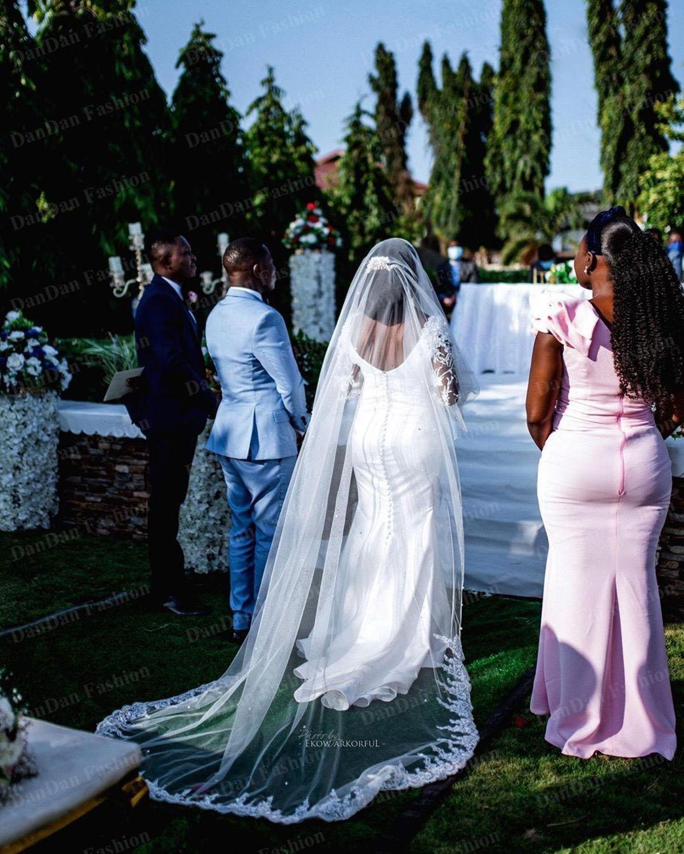 Elegant Satin African Mermaid Wedding Dresses 2021 Sheer Long Sleeves Scoop Neck Bridal Gowns Beaded Lace Vestidos De Novia Plus