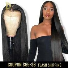 Perruque courte en dentelle avant de cheveux humains Bob perruque pour les femmes noires brésilienne droite Remy perruque de dentelle preplumée avec des cheveux de bébé 13x4 130%