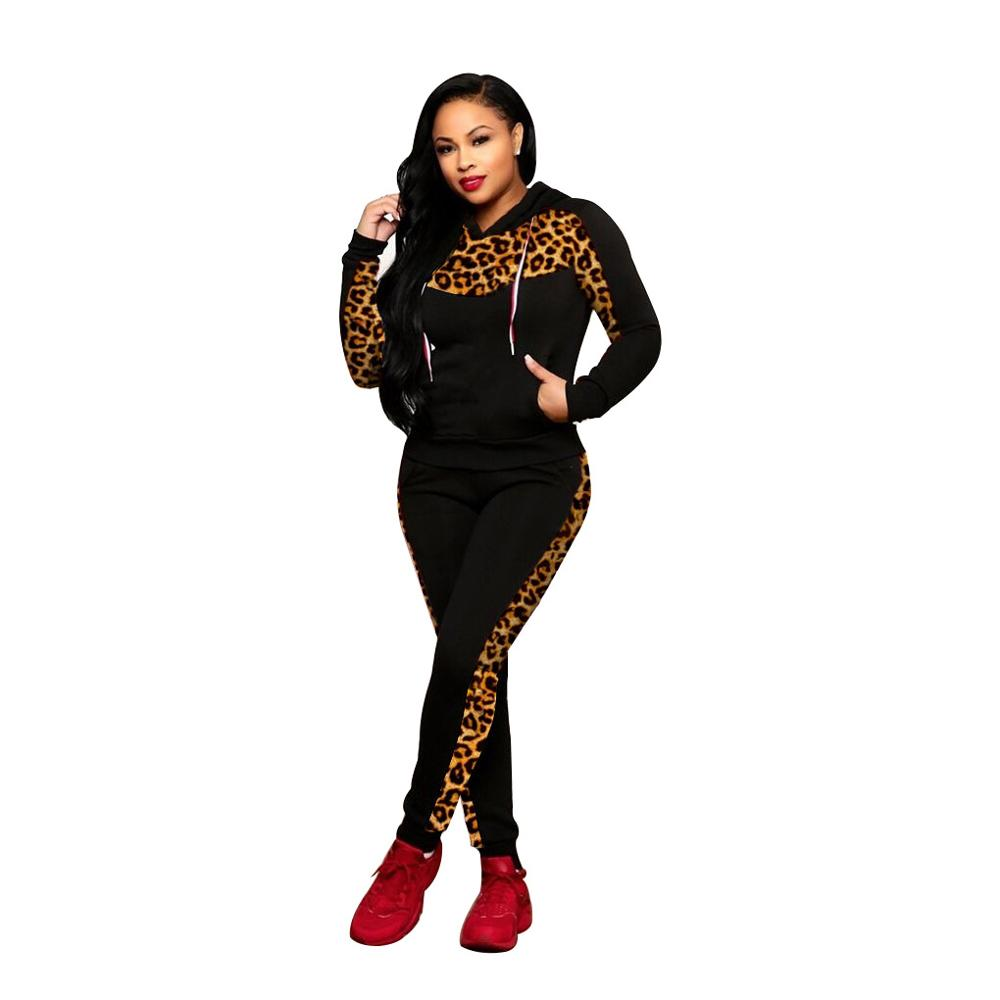 Adogirl Leopard Print Patchwork Women Tracksuit Fashion Casual Two Piece Set