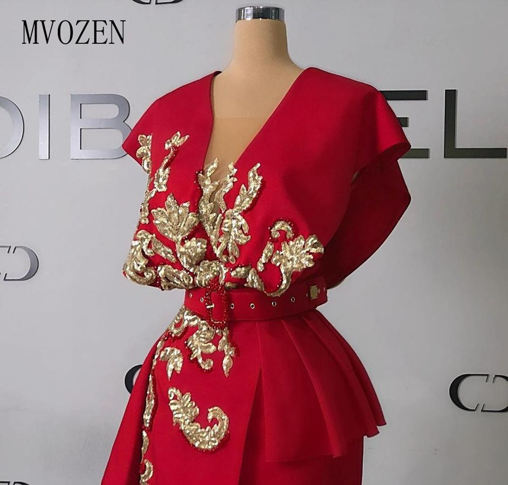 MVOZEIN Evening Dress Gold Embroidery V-Neck Split Long Formal Gowns Split Prom Dress Party 2020 Robe De Soiree Free Shipping