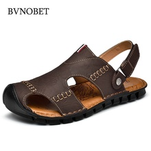 BVNOBET Summer Comfort Men Shoes Genuine Leather Casual Cow Retro Adult Footwear Sandals Chaussure Homme