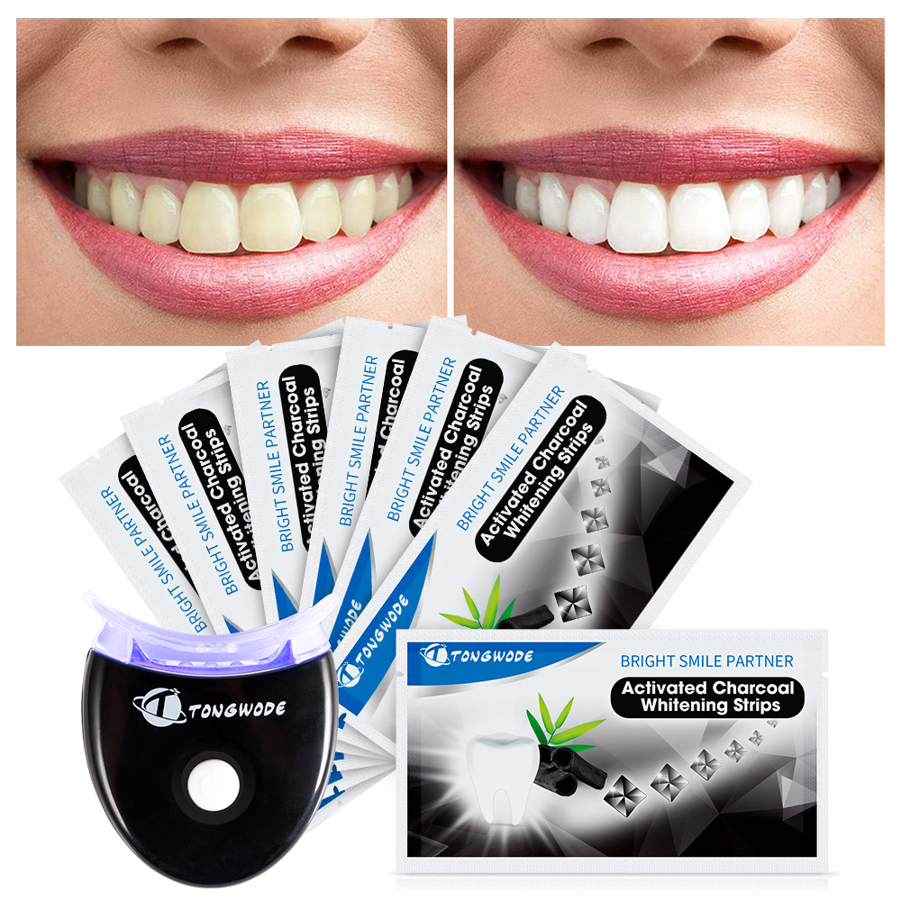 Activated Charcoal Teeth Whitening Strips With Dental Bleaching Accelerator Led Light Remove Tooth Tartar For Teeth Whitening
