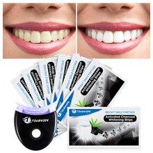 Tiras de carbón activado para blanquear los dientes con acelerador de blanqueamiento Dental, luz Led para eliminar el sarro Dental para blanquear los dientes