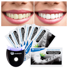 Carbone attivo Teeth Whitening Strisce con Lo Sbiancamento Dentale Accelerator Led Luce Rimuovere Tartaro Dei Denti per Lo Sbiancamento Dei Denti
