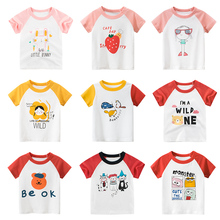 Kids Girls T Shirt Summer Baby Cotton Tops Toddler Tees Clothes Children Clothing Cartoon T-shirts Short Sleeve Casual Wear branded 100% cotton 2017 baby girl clothing toddler children kids clothes summer striped tees t shirt short sleeve t shirt girls