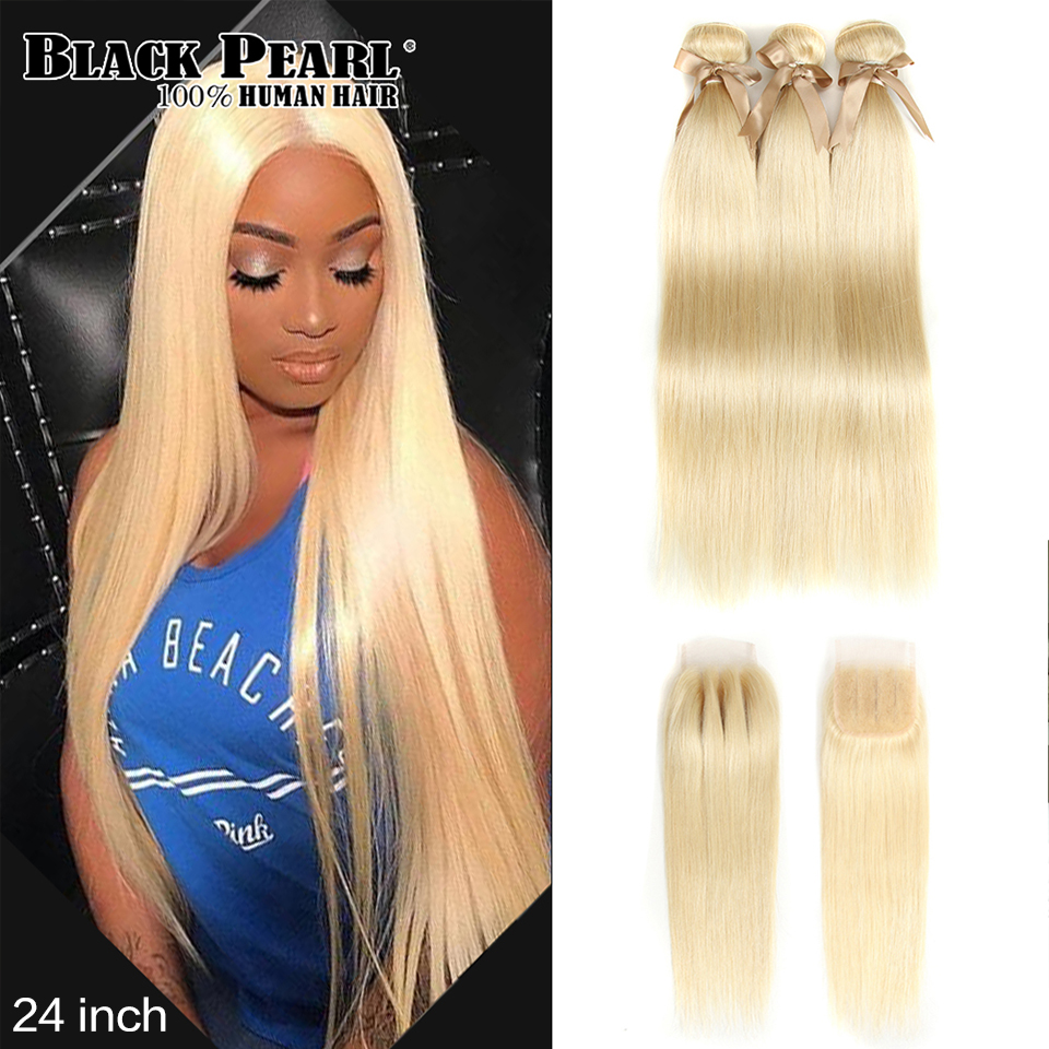 Bundles Closure Human-Hair Black Pearl Honey Blonde Straight Brazilian with Remy