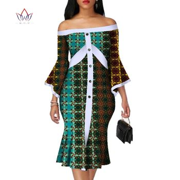 2020 New Wrist Dress Slash Neck African Bazin Cotton Mid-dress Dashiki African Print Dresses For Women Knee-length 5xl WY3067