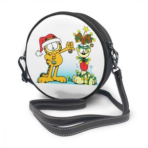 Image 5 - Garfield bolsa de ombro garfield 4 bolsa de couro mini impressão feminina sacos multi purpose adolescente crossbody mulher trending bolsa redonda