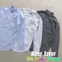 Camisa do bolso da cinza do erro do ader 2021 das mulheres dos homens adererror rasgado etiqueta logo camisas 1:1 de alta qualidade manga longa blusa do ader xadrez
