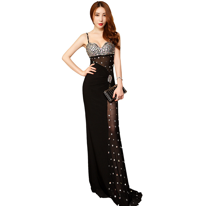 Fashion Sexy Sequins Evening Dresses Mermaid Long Formal Evening Dress Party Net Yarn Perspective Evening Gown