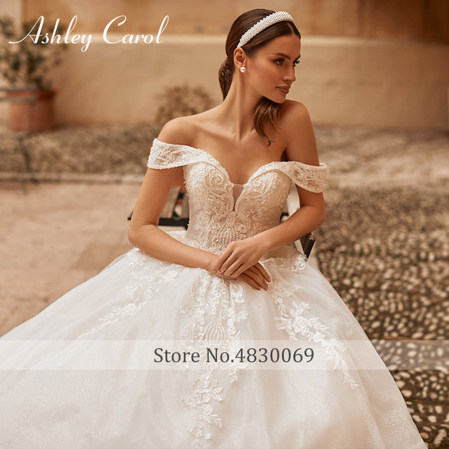 Ashley Carol Princess Wedding Dress 2021 Elegant Sweetheart Bride Beaded Embroidery Lace Up A-Line Bridal Dresses Robe De Mariee 3