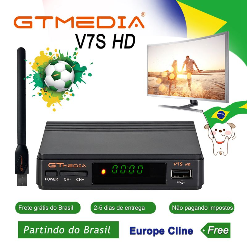 GTMEDIA V7S HD Satellite Receiver With USB WiFi Full HD DVB-S2 PK Freesat V7 HD Receptor HD 1080P Ship From Brazil TV Receptor