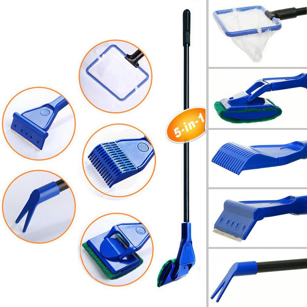 5 In 1 Aquarium Tank Cleaner Set Fishing Net Sand Rake Seaweed Scraper Grass Fork Sponge Glass Brush Fish Tank Cleaning Tools