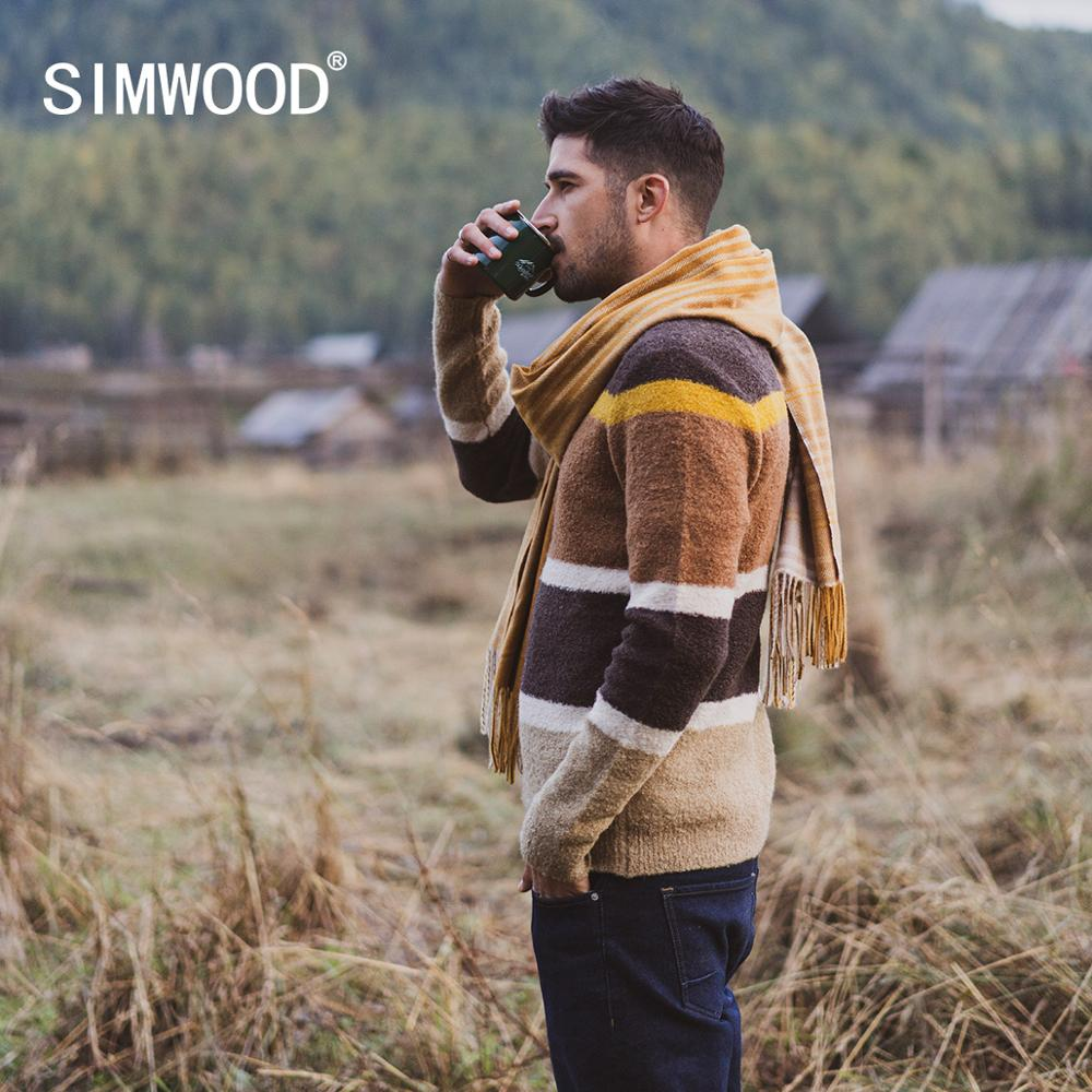 SIMWOOD 2019 Autumn Winter New Sweater Mix Wool Jacquard Contrast  Color Striped Knitted Pullovers Plus Size 190411Pullovers   -