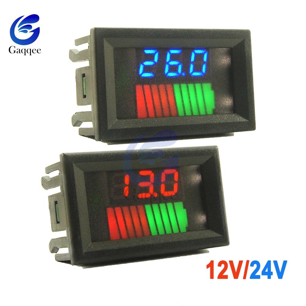 10 Segments 12V 24V Car Lead Acid Battery Charge Level Indicator Lithium Battery Capacity Tester Meter Dual LED Voltmeter Kits