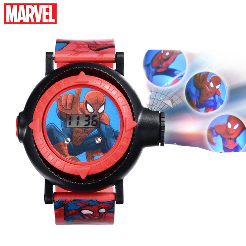 Genuine MARVEL Spider Man Projection LED Digital Watches Children Cool Cartoon Watch Kid Birthday Gift Disney Boy Girl Clock Toy