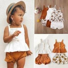 Pudcoco 2 pçs crianças roupas da menina do bebê sem mangas botão babados topos vestido flor shorts calças outfit verão
