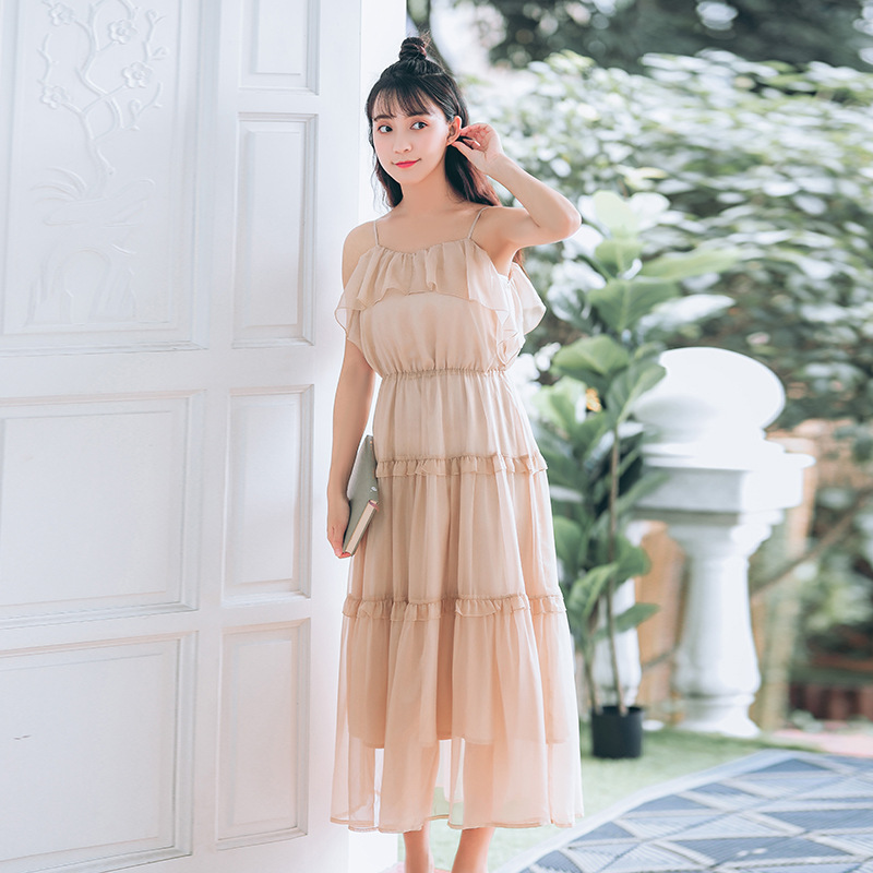 Photo Shoot France Fu Gu Qun Yamamoto Immortal Chiffon Strapped Dress Fairy First Love Skirt