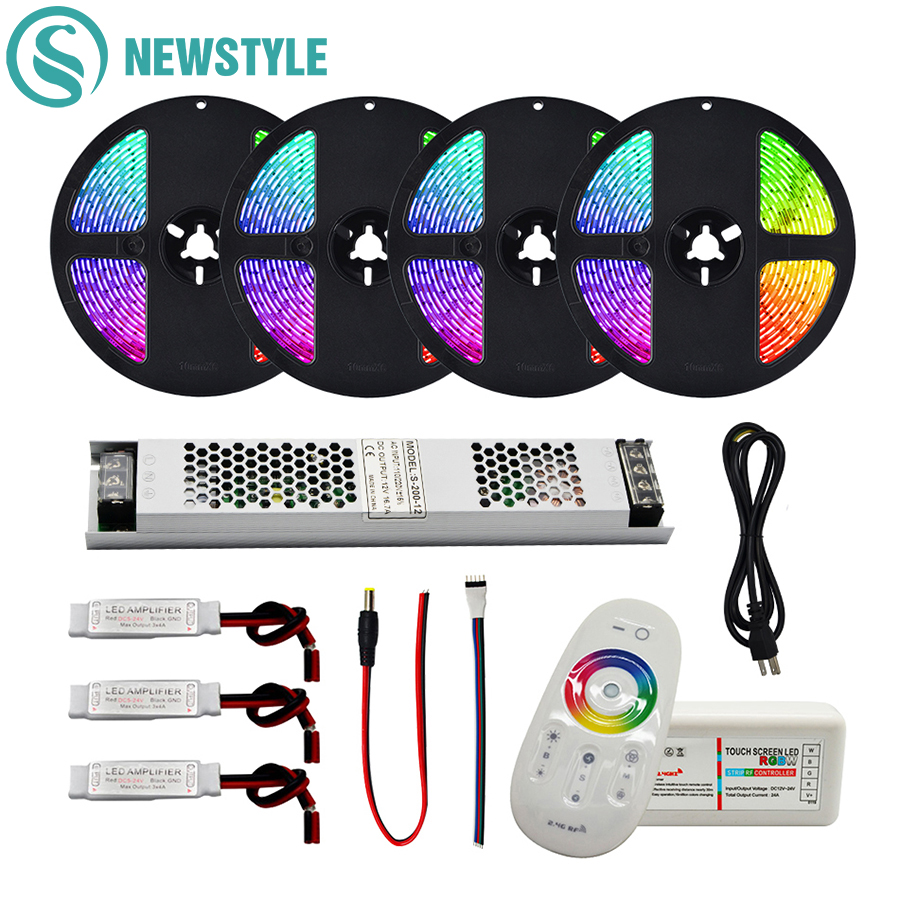 LED Strip 5050 Waterproof RGB RGBW RGBWW LED Flexible Strip Tape+RF 2.4G Remote Controller +DC 12V Power Adapter Kit