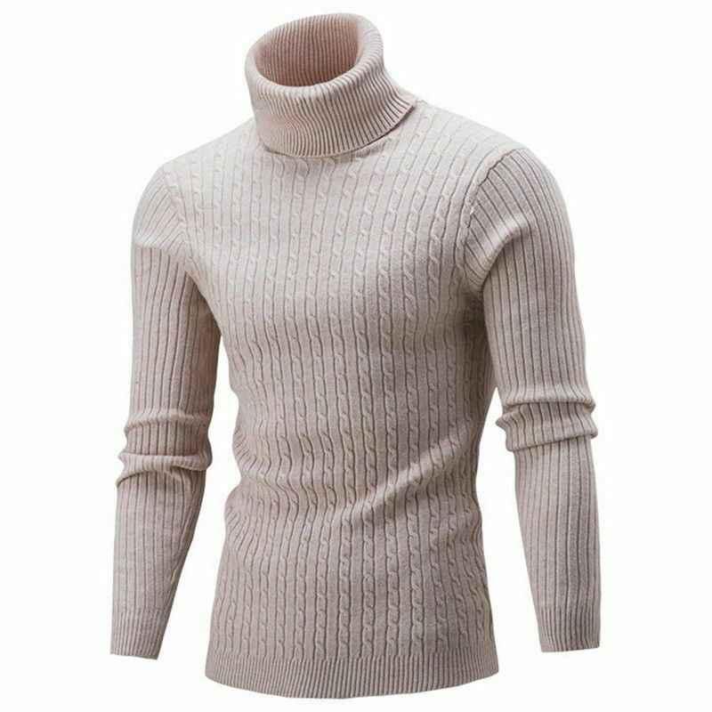 겨울 두꺼운 따뜻한 스웨터 남자 터틀넥 불규칙한 스트라이프 스웨터 슬림 피트 풀오버 sueter hombre knitwear