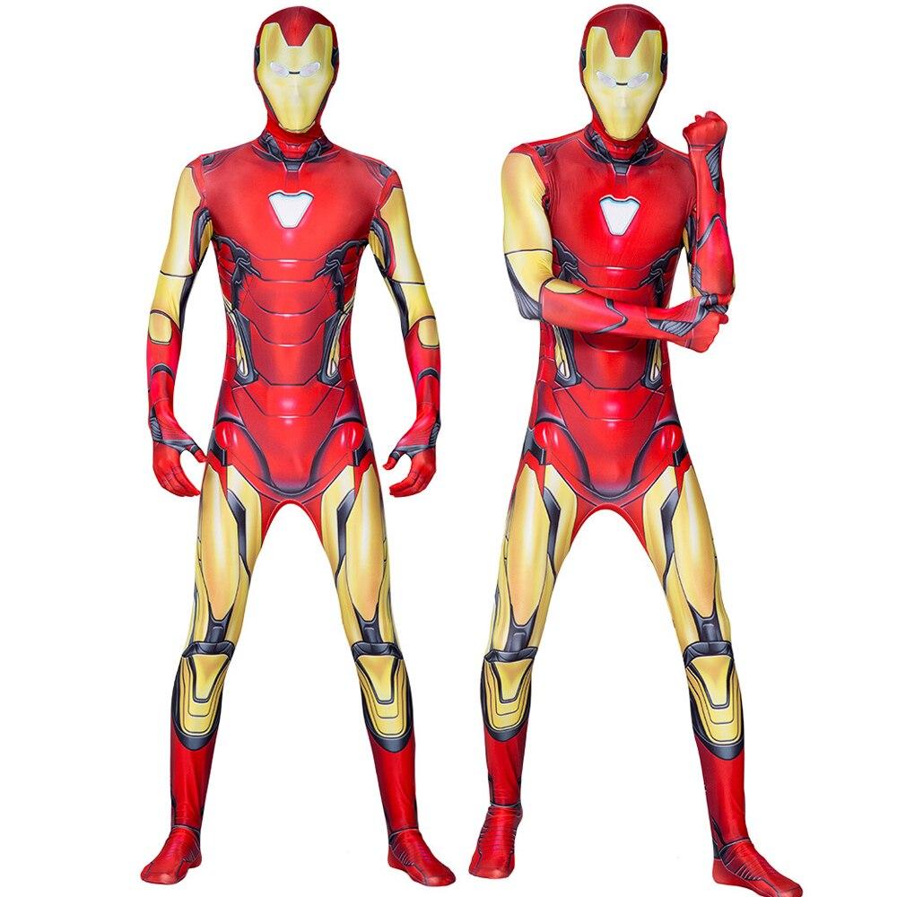 Traje de ferro homem guerreiro vermelho adulto crianças endgame super-herói macacão criança halloween