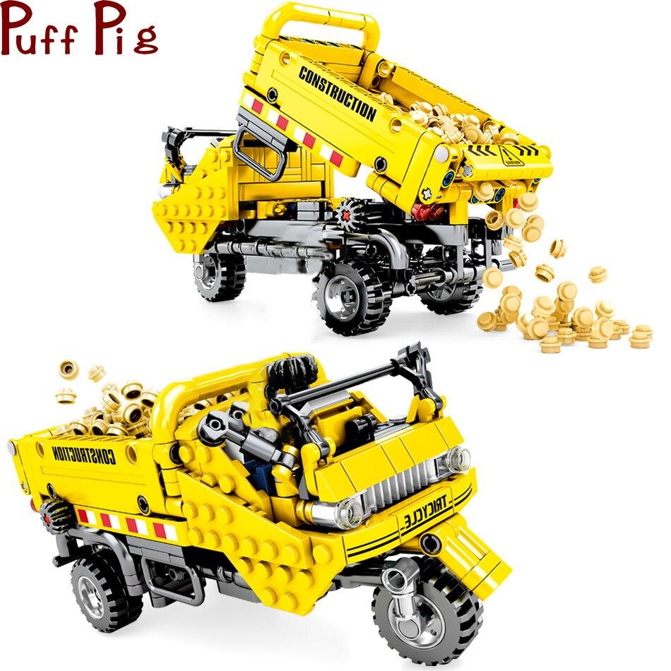 491 pièces bricolage Tricycle camion à benne basculante bloc de Construction technique ville Construction ingénierie jouet briques voitures jouets pour enfants