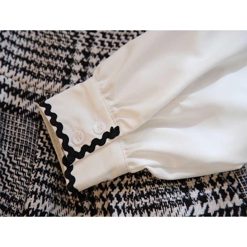 Camisa blusa blanca de chifón con perlas y agradable arco + conjunto corto de tirantes de lana a cuadros conjunto de 2 piezas conjunto para mujer Top de verano conjunto de pantalón de pierna ancha