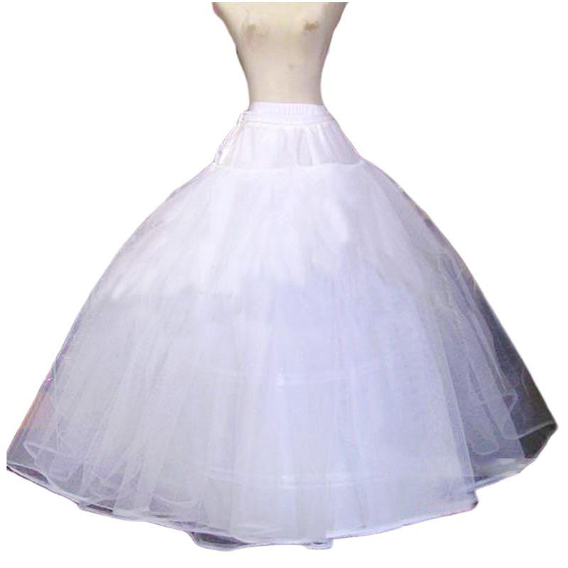Women Bridal Crinoline Petticoat A-Line 3-Hoop Adjustable Drawstring Elastic Waist Double-Layer Gauze Wedding Underskirts Dress