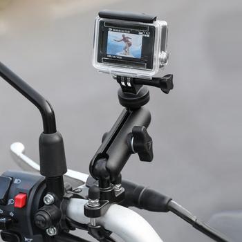Motocykl motor statyw lusterko kierownicy uchwyt mocujący 1 4 metalowy stojak sportowe kamery sportowe akcesoria czarny tanie i dobre opinie HT-237 9 4cm Aluminum alloy 230g Black Suitable for most sport cameras