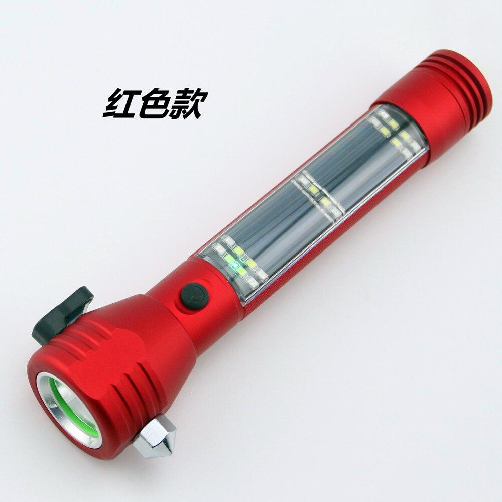 Многофункциональный Солнечный Автомобильный аварийный молоток, аварийный фонарик, алюминиевый сплав, спасательный фонарик, уличный авари