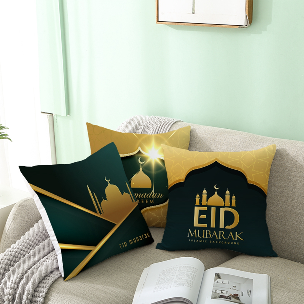 FENGRISE Eid Pillow Cover 2020 Ramada Decoration For Home Happy Eid Mubarak Islamic Muslim Party Decor EID AL Adha Pillowcase