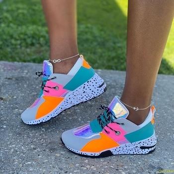 Женские кроссовки на шнуровке, разноцветные кроссовки с круглым носком, повседневные, большие размеры 37-42, 2020