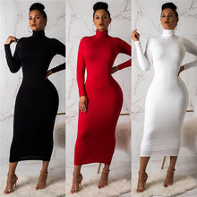 Autumn Winter Dress Long Dress Women Long Sleeve Turtleneck Sexy Bodycon 2019 Red Black White Club Party Midi Dress(China)