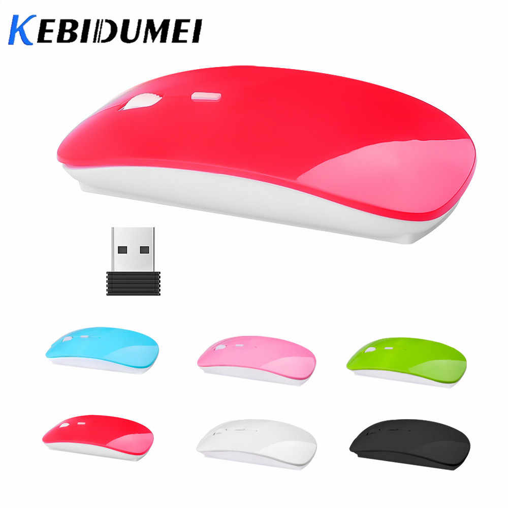 Kebidumei ricevitore Mouse Wireless ottico 2.4G USB Mouse Ultra sottile sottile Mouse Cordless per Computer da gioco PC Laptop Desktop