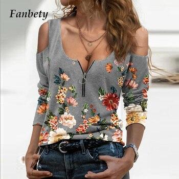 Blusa holgada informal con manga larga para verano, camisa Sexy con estampado Floral y hombros descubiertos para mujer, cuello de pico profundo, 2021 1