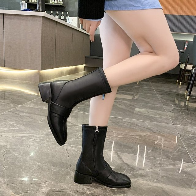 Фото 2020 winter fashion women boots casual zipper square heel ladies