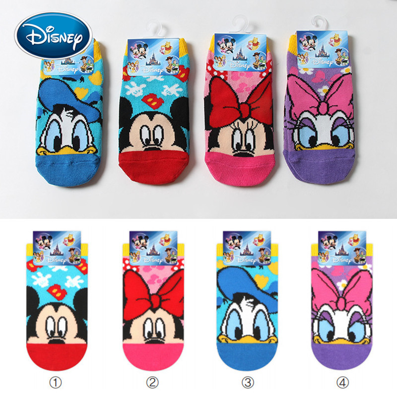 Disney Cute Children Socks 3-10 Years Old Male And Female Baby Short Cotton Socks Cute Cartoon Anime Low Cut Shallow Socks