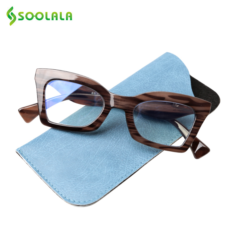 SOOLALA Anti Blue Light Blocking Reading Glasses Tinted Eyewear Butterfly Cateye Prescription Reading Glasses 0.5 1.25 1.75