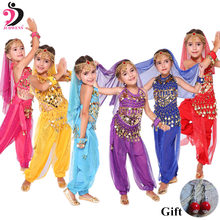 Детский костюм для танца живота, индийская танцевальная одежда, 6 цветов