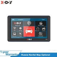 цена на XGODY 718 7 Inch Car GPS Navigation 128M+8GB FM Touch Screen Sat Nav Truck Navigator Reverse Wireless Camera Navitel Europe Map