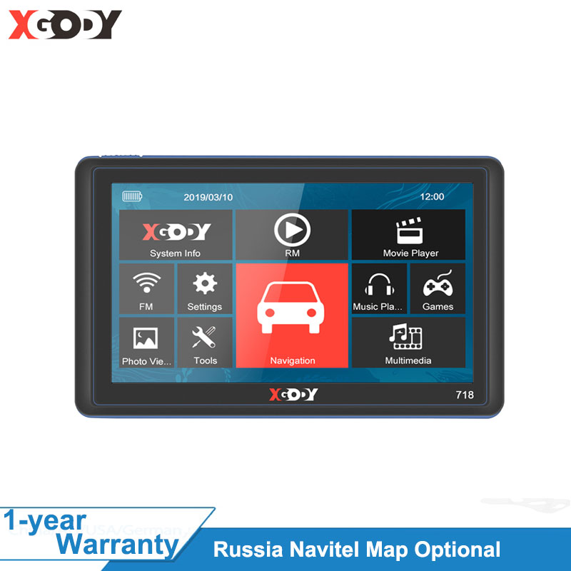 XGODY 718 7 Zoll Auto GPS Navigation 128M + 8GB FM Touch Screen Sat Nav Lkw Navigator Reverse drahtlose Kamera Navitel Europa Karte