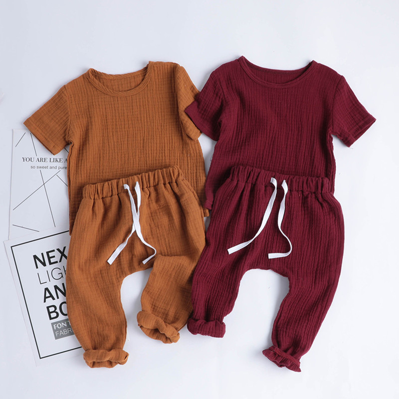 Cotton Linen Casual Toddler Baby Girls Boys Clothes Set Solid Tops T-Shirts+Pants 2pcs Kids Children Outfits Summer Home Clothes