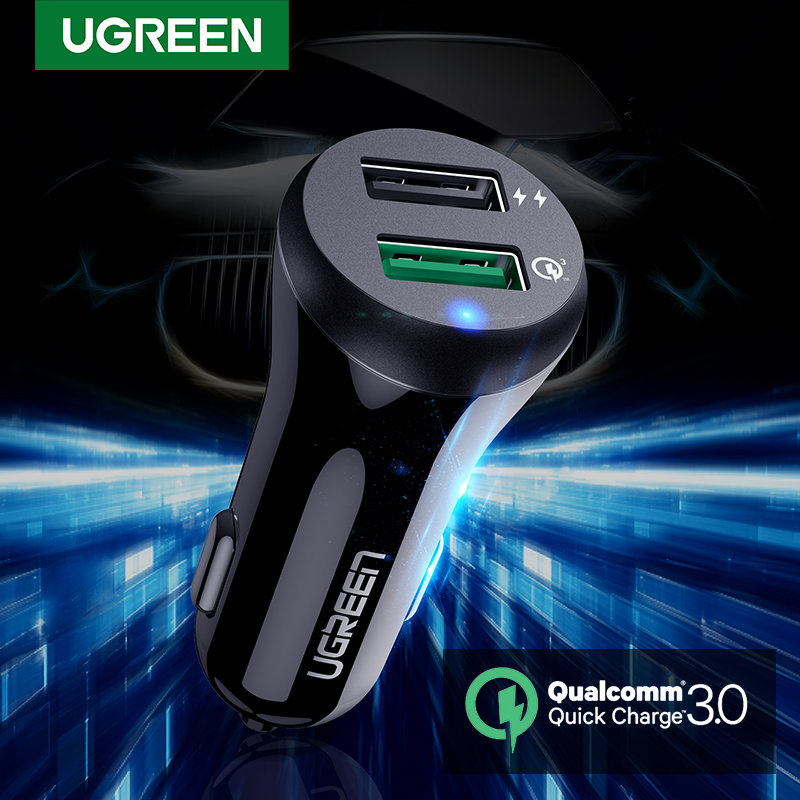Ugreen Car Charger Quick Charge 3.0 USB Fast Charger pro Xiaomi mi 9 iPhone X Xr 8 Huawei Samsung S9 S8 QC 3.0 USB Car Charger