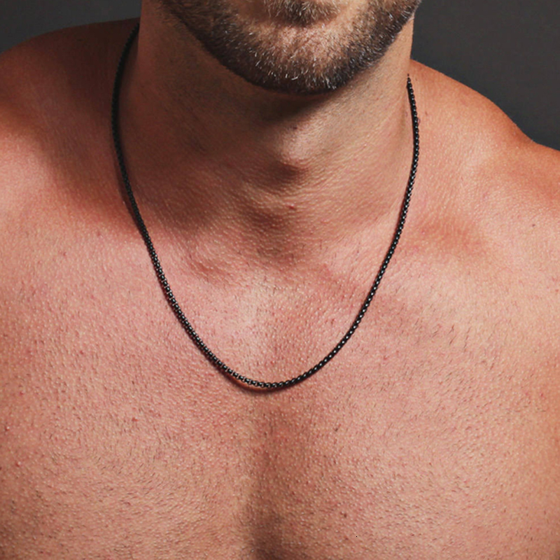 Простая модная коробка цепи ожерелье для мужчин титановая стальная цепочка на шею для мужчин ювелирные изделия подарок|Цепочки|   | АлиЭкспресс