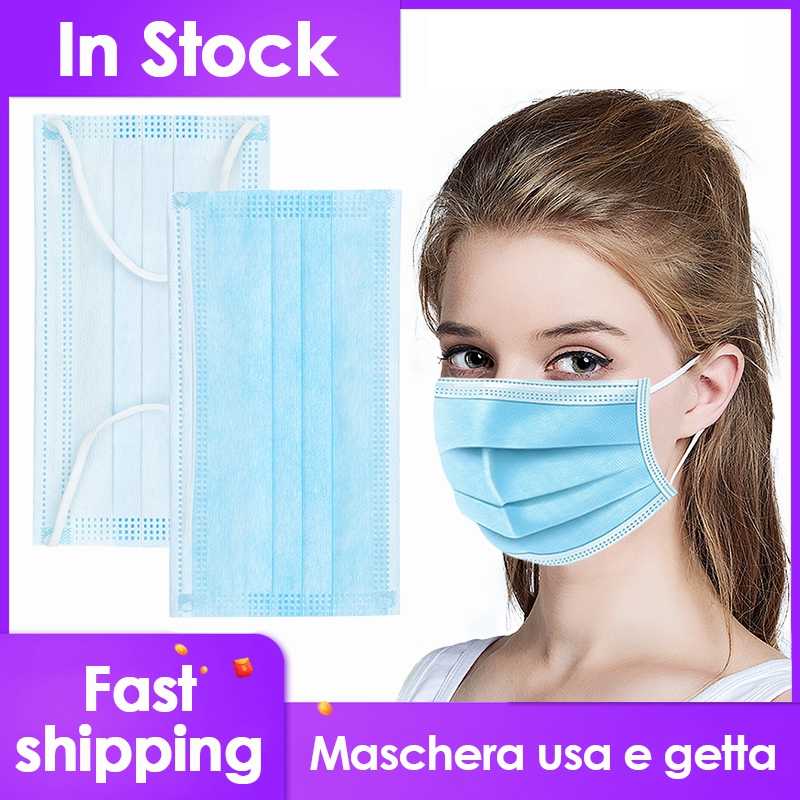 200/100Pcs Disposable Blue Face Mask 3-Layer Ear Loop Anti-Bacterial Dust Safety Masks Anti Haze Non-Woven Mouth Masks
