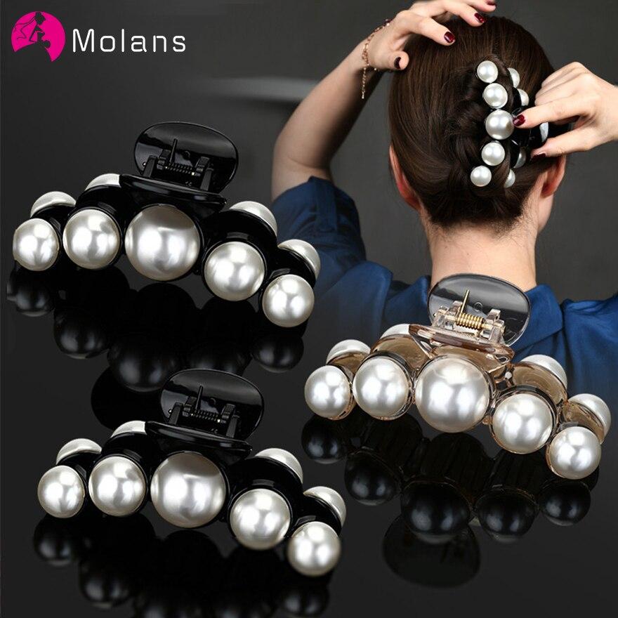 Molans Elegant Pearls Beads Hair Claws For Women Hairpins Shiny Crystal Rhinestone Flower Hair Clips  Hair Crab Accessories
