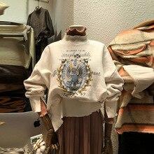 2019 The New Style of Women Casual Sweatshirt and Semi-high-neck-collar Embroidery Sweatshirt Women недорого